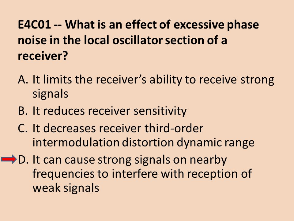 E4C01 -- What is an effect of excessive phase noise in the local oscillator section of a receiver? A.It limits the receivers ability to receive strong