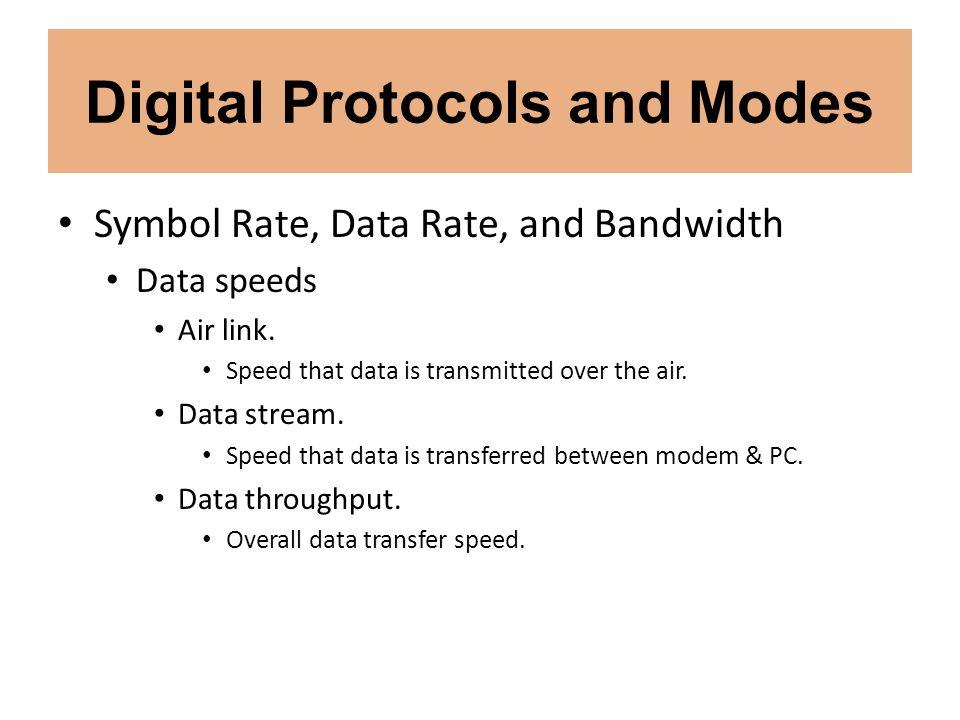 Digital Protocols and Modes Digital Modes Transmitting digital mode signals.