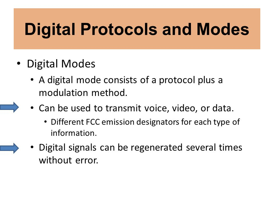 Digital Protocols and Modes Digital Modes A digital mode consists of a protocol plus a modulation method. Can be used to transmit voice, video, or dat