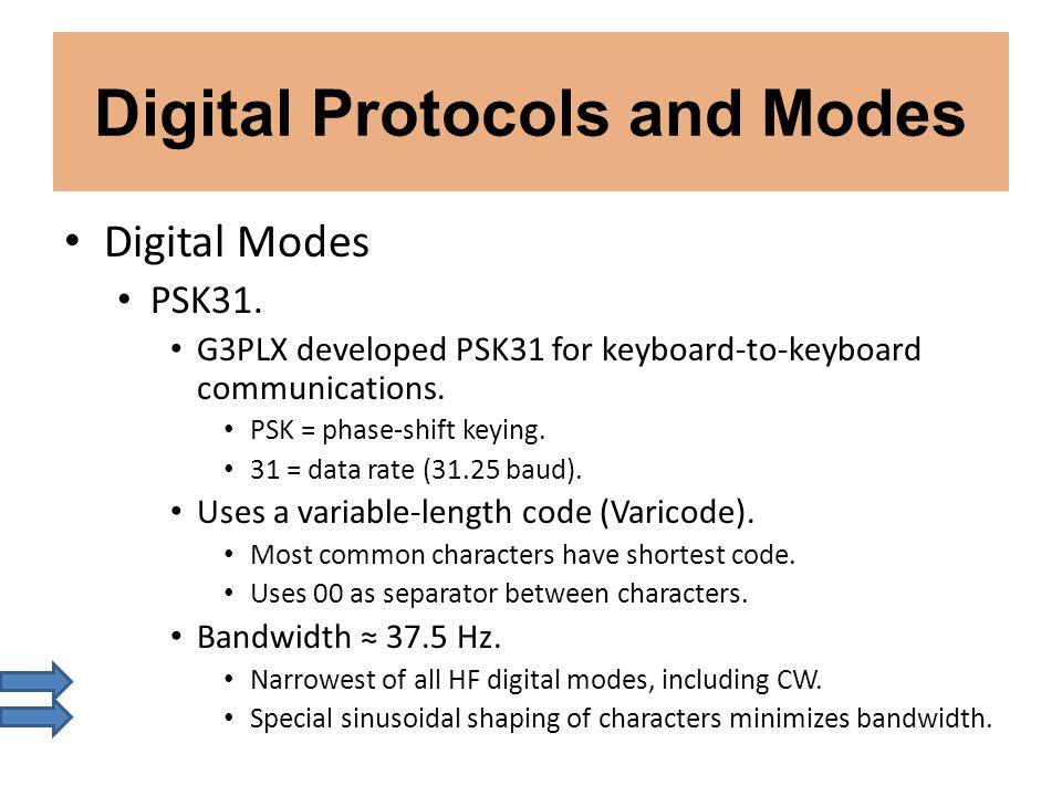Digital Protocols and Modes Digital Modes PSK31. G3PLX developed PSK31 for keyboard-to-keyboard communications. PSK = phase-shift keying. 31 = data ra