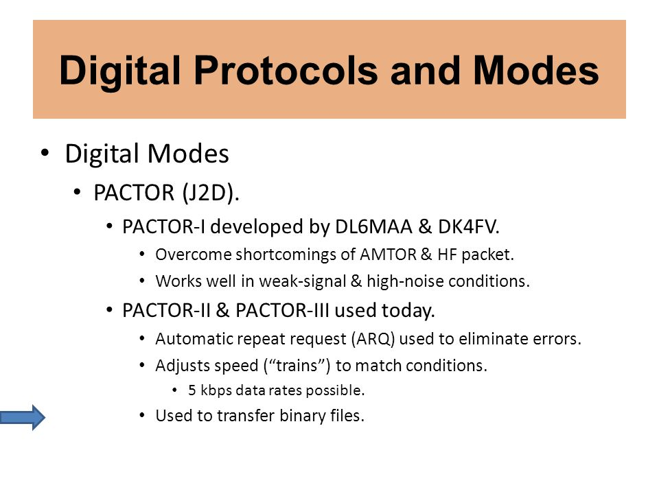 Digital Protocols and Modes Digital Modes PACTOR (J2D). PACTOR-I developed by DL6MAA & DK4FV. Overcome shortcomings of AMTOR & HF packet. Works well i
