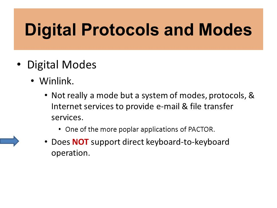 Digital Protocols and Modes Digital Modes Winlink. Not really a mode but a system of modes, protocols, & Internet services to provide e-mail & file tr