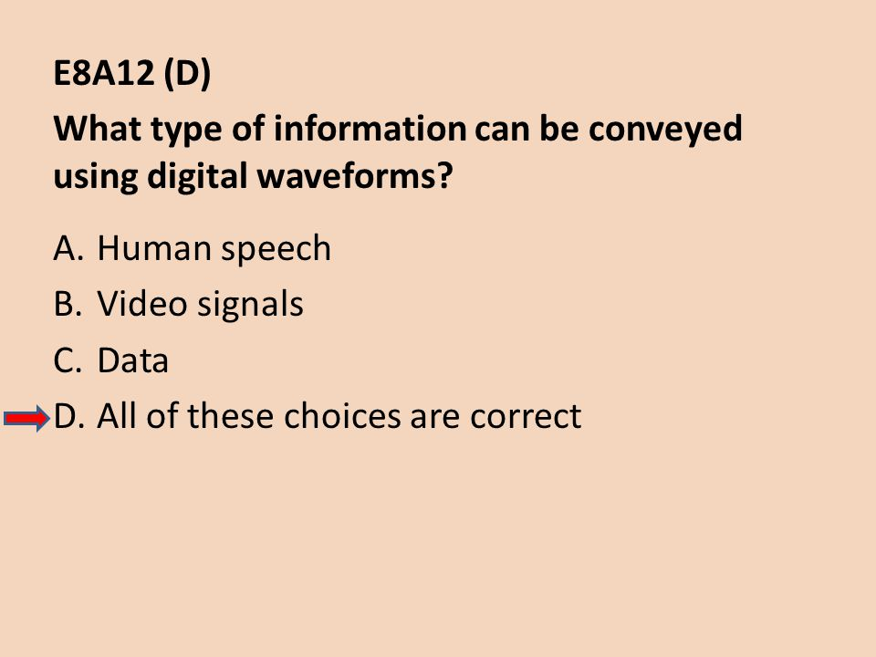 E8A12 (D) What type of information can be conveyed using digital waveforms? A.Human speech B.Video signals C.Data D.All of these choices are correct