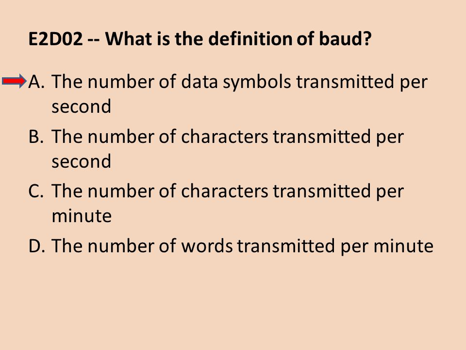 E2D02 -- What is the definition of baud? A.The number of data symbols transmitted per second B.The number of characters transmitted per second C.The n