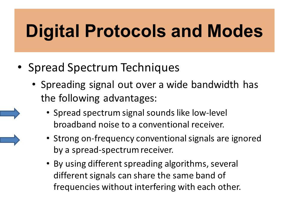 Digital Protocols and Modes Spread Spectrum Techniques Spreading signal out over a wide bandwidth has the following advantages: Spread spectrum signal