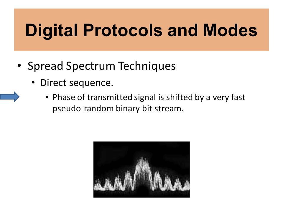 Digital Protocols and Modes Spread Spectrum Techniques Direct sequence. Phase of transmitted signal is shifted by a very fast pseudo-random binary bit