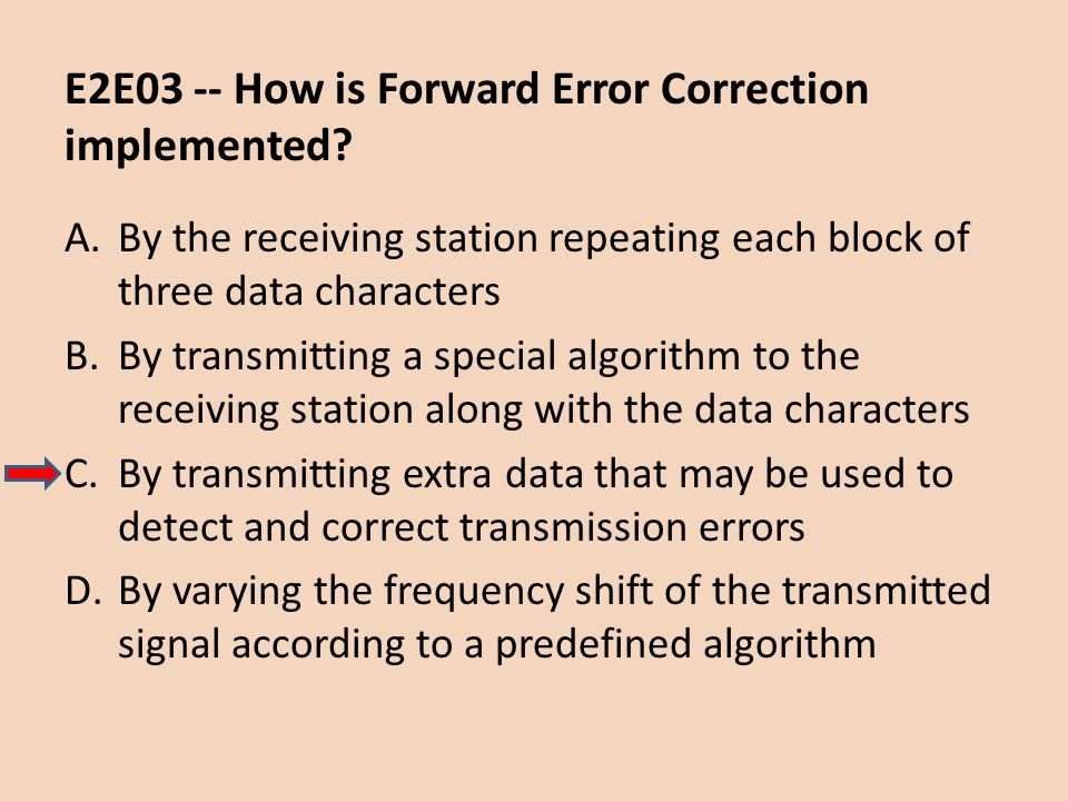 E2E03 -- How is Forward Error Correction implemented? A.By the receiving station repeating each block of three data characters B.By transmitting a spe