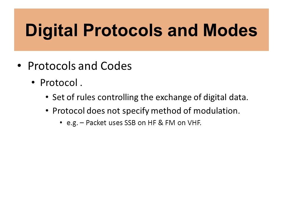 Digital Protocols and Modes Spread Spectrum Techniques Direct sequence.