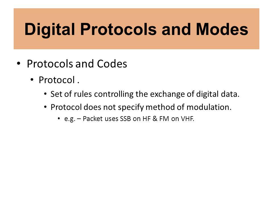 Digital Protocols and Modes Digital Modes HF Packet.