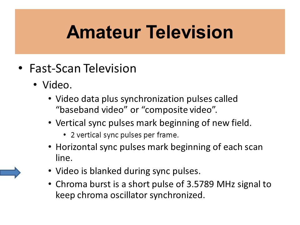Amateur Television Fast-Scan Television Video. Video data plus synchronization pulses called baseband video or composite video. Vertical sync pulses m