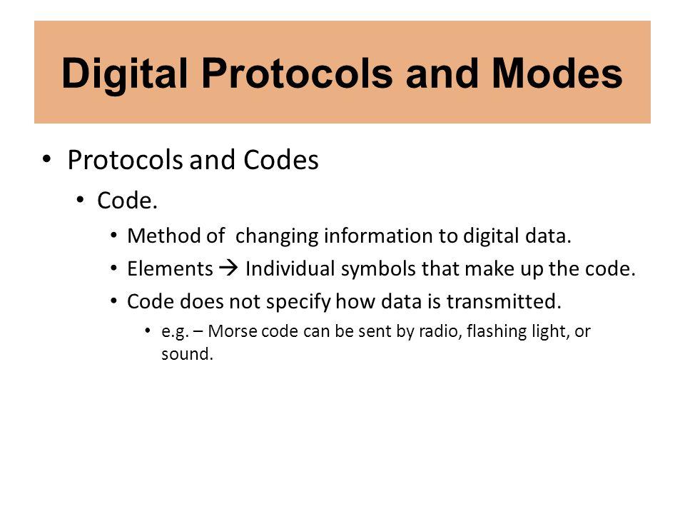 Digital Protocols and Modes Digital Modes PACTOR (J2D).