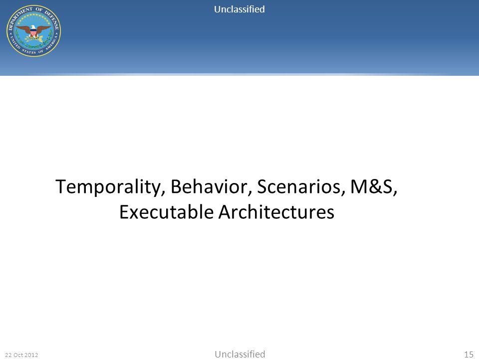 Unclassified 22 Oct 2012 15 Temporality, Behavior, Scenarios, M&S, Executable Architectures