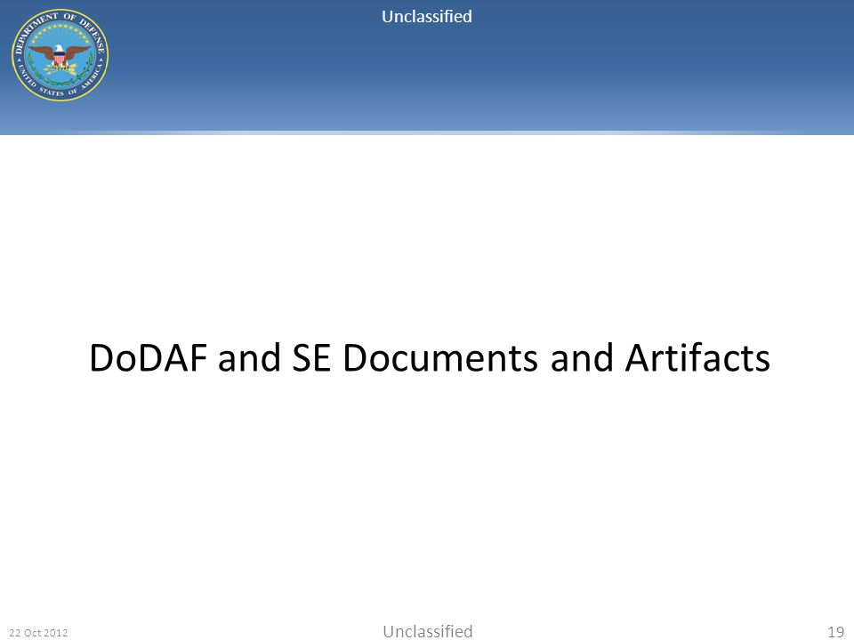 Unclassified 22 Oct 2012 19 DoDAF and SE Documents and Artifacts