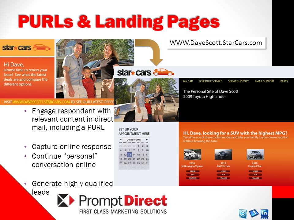 PURLs & Landing Pages Engage respondent with relevant content in direct mail, including a PURL Capture online response Continue personal conversation online Generate highly qualified leads WWW.DaveScott.StarCars.com