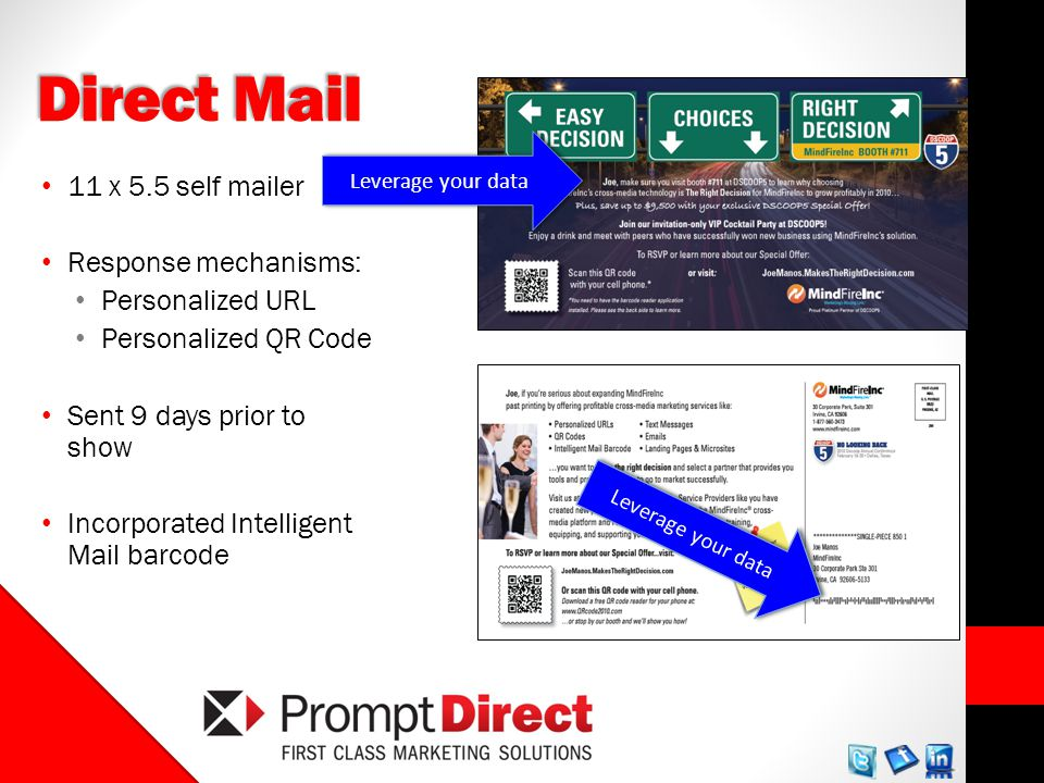 Direct Mail 11 x 5.5 self mailer Response mechanisms: Personalized URL Personalized QR Code Sent 9 days prior to show Incorporated Intelligent Mail barcode Leverage your data