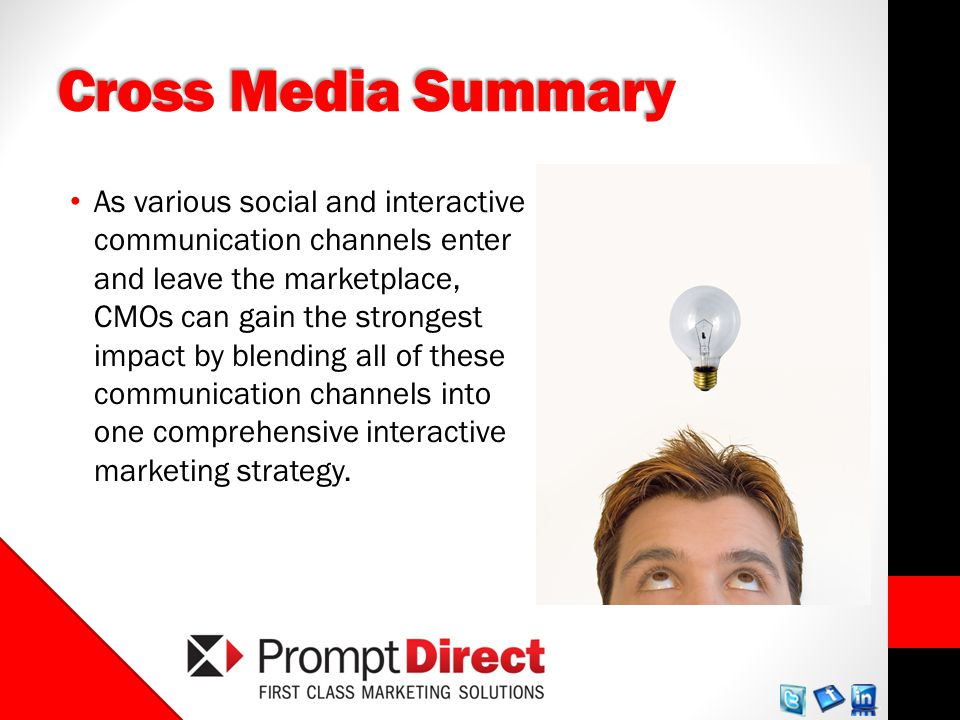 Cross Media Summary As various social and interactive communication channels enter and leave the marketplace, CMOs can gain the strongest impact by blending all of these communication channels into one comprehensive interactive marketing strategy.