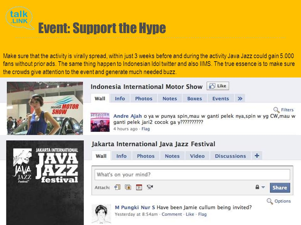 Copyright and Proprietary ©2010 Talk Link Make sure that the activity is virally spread, within just 3 weeks before and during the activity Java Jazz could gain 5.000 fans without prior ads.