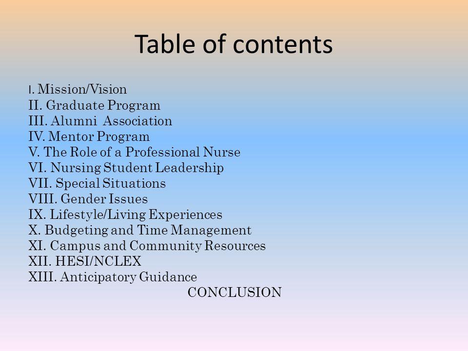 Table of contents I. Mission/Vision II. Graduate Program III. Alumni Association IV. Mentor Program V. The Role of a Professional Nurse VI. Nursing St
