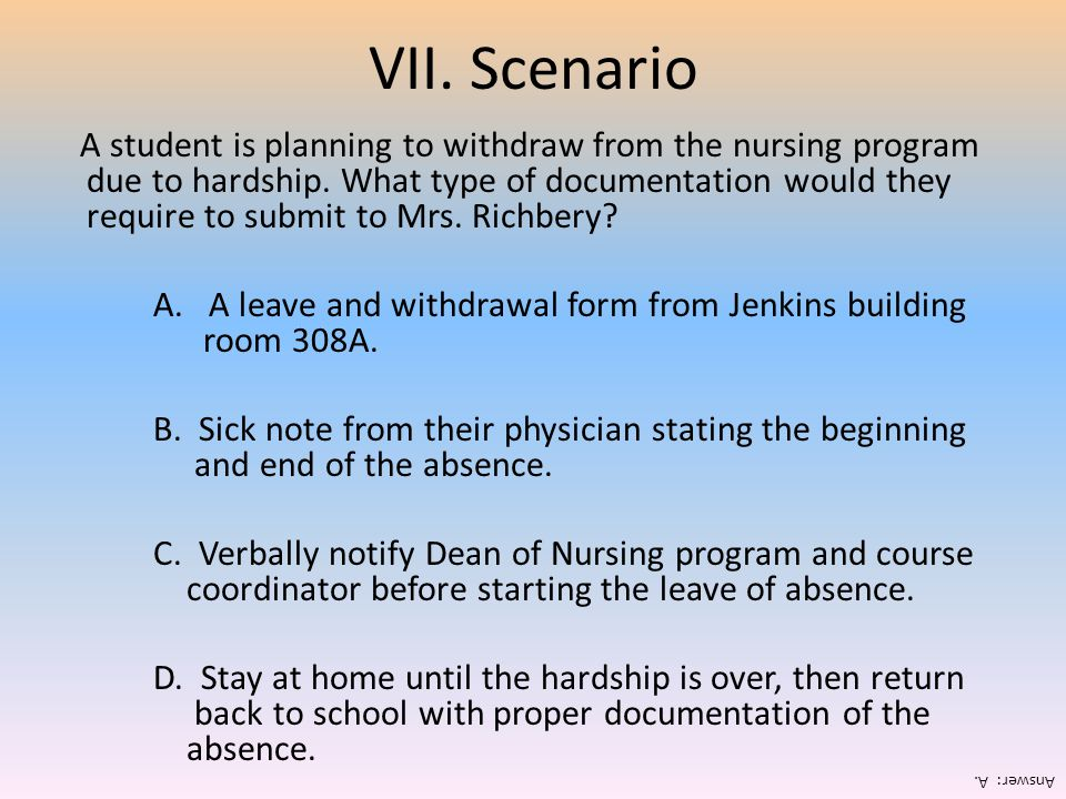 VII. Scenario A student is planning to withdraw from the nursing program due to hardship. What type of documentation would they require to submit to M