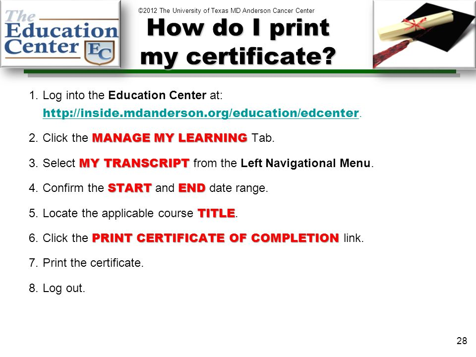 How do I print my certificate.