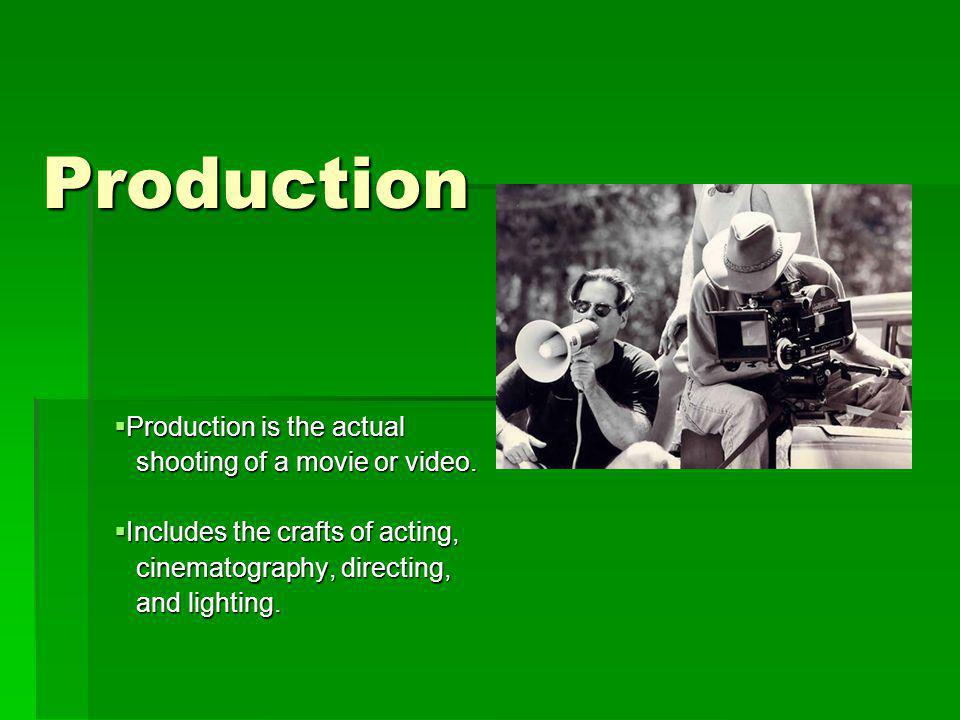 Production Production is the actual Production is the actual shooting of a movie or video.