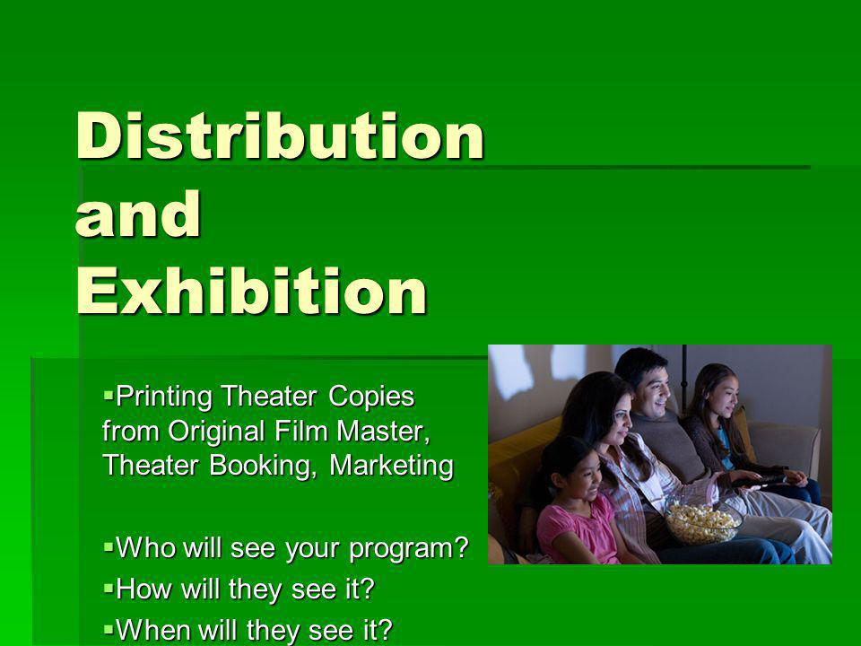 Distribution and Exhibition Printing Theater Copies from Original Film Master, Theater Booking, Marketing Printing Theater Copies from Original Film Master, Theater Booking, Marketing Who will see your program.