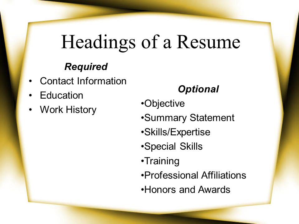 Required Contact Information Education Work History Optional Objective Summary Statement Skills/Expertise Special Skills Training Professional Affilia
