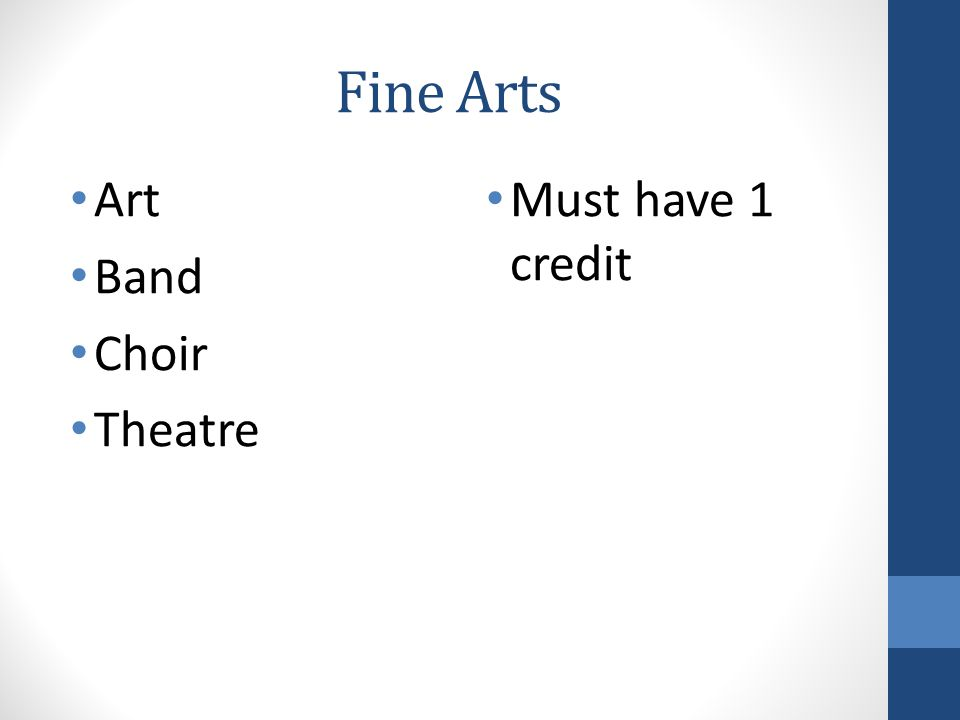 Fine Arts Art Band Choir Theatre Must have 1 credit