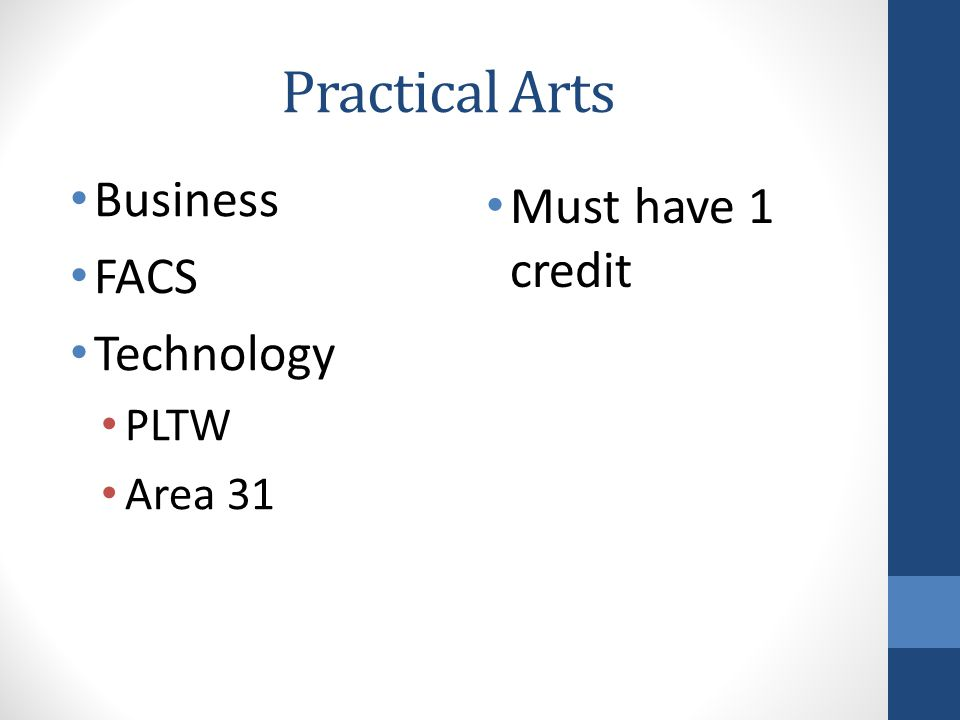 Practical Arts Business FACS Technology PLTW Area 31 Must have 1 credit