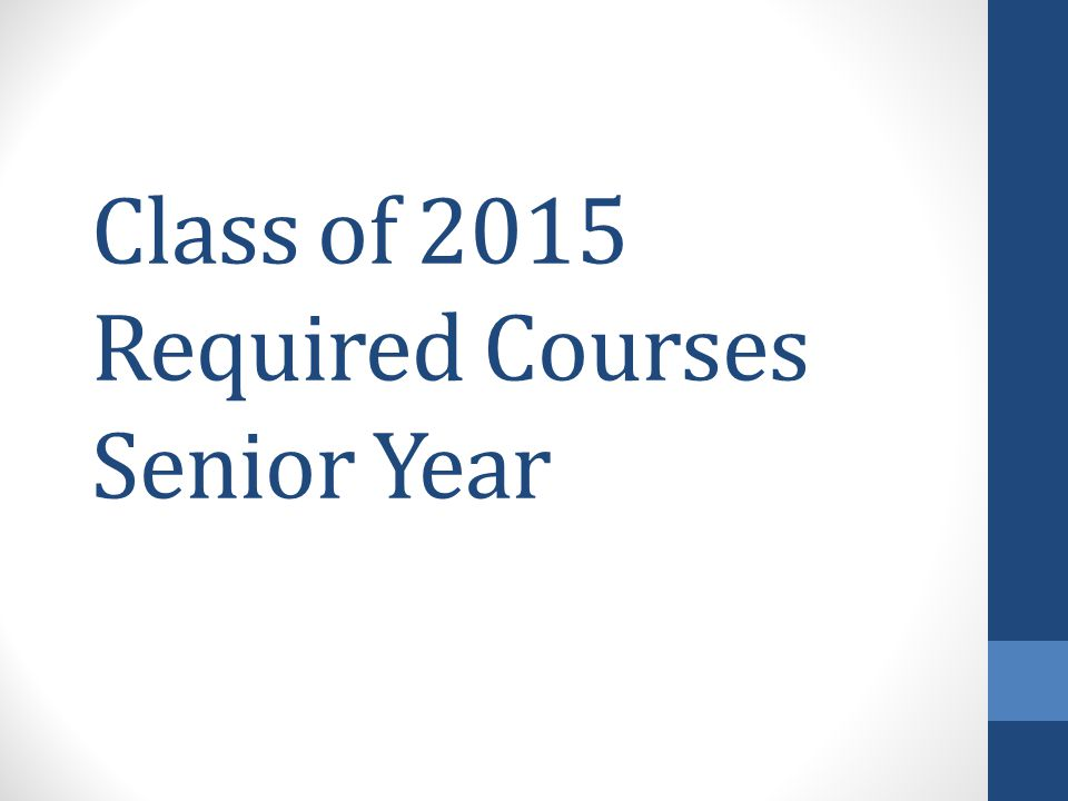 Class of 2015 Required Courses Senior Year