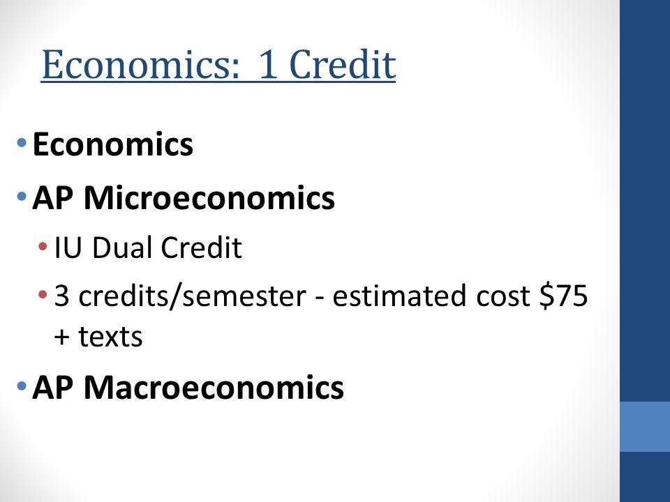 Economics: 1 Credit Economics AP Microeconomics IU Dual Credit 3 credits/semester - estimated cost $75 + texts AP Macroeconomics