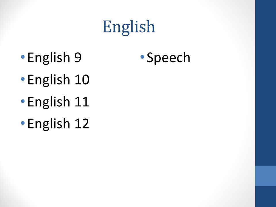 English English 9 English 10 English 11 English 12 Speech