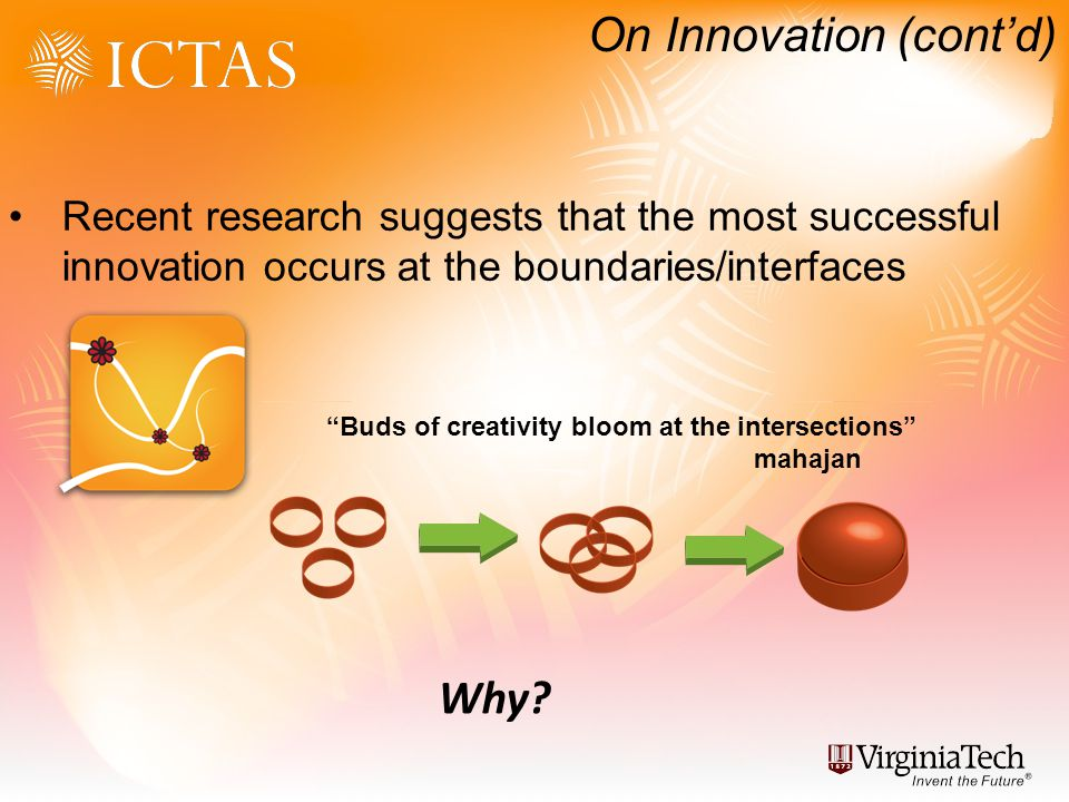 On Innovation (contd) Recent research suggests that the most successful innovation occurs at the boundaries/interfaces Buds of creativity bloom at the