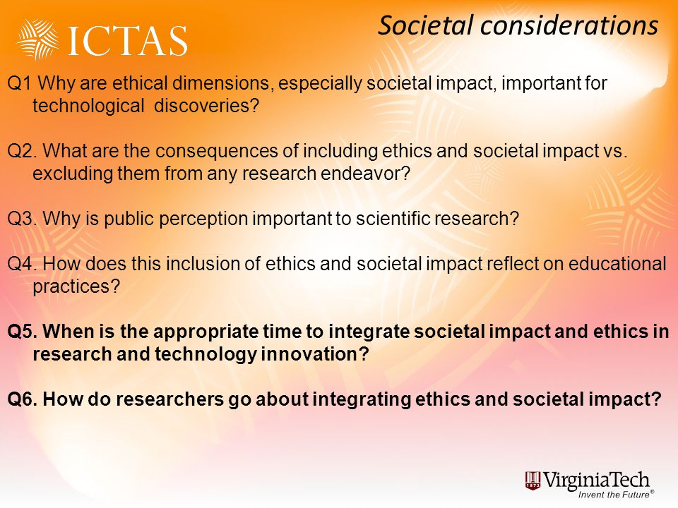 Q1 Why are ethical dimensions, especially societal impact, important for technological discoveries.