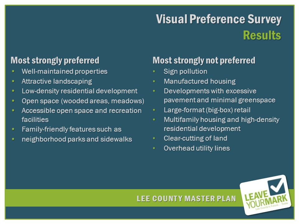 LEE COUNTY MASTER PLAN Visual Preference Survey Results Most strongly preferred Well-maintained propertiesWell-maintained properties Attractive landscapingAttractive landscaping Low-density residential developmentLow-density residential development Open space (wooded areas, meadows)Open space (wooded areas, meadows) Accessible open space and recreation facilitiesAccessible open space and recreation facilities Family-friendly features such asFamily-friendly features such as neighborhood parks and sidewalksneighborhood parks and sidewalks Most strongly not preferred Sign pollution Sign pollution Manufactured housing Manufactured housing Developments with excessive pavement and minimal greenspace Developments with excessive pavement and minimal greenspace Large-format (big-box) retail Large-format (big-box) retail Multifamily housing and high-density residential development Multifamily housing and high-density residential development Clear-cutting of land Clear-cutting of land Overhead utility lines Overhead utility lines