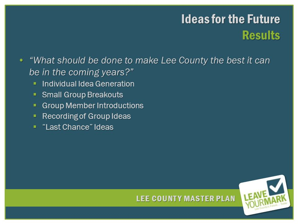 LEE COUNTY MASTER PLAN What should be done to make Lee County the best it can be in the coming years What should be done to make Lee County the best it can be in the coming years.