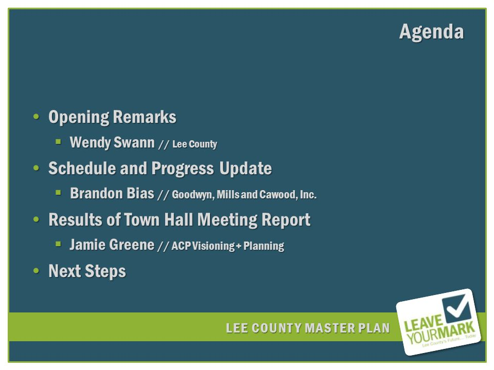 LEE COUNTY MASTER PLAN How many people attended the meetings?How many people attended the meetings.