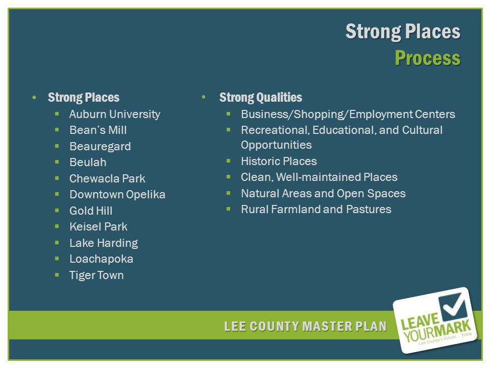 LEE COUNTY MASTER PLAN Strong Places Auburn University Beans Mill Beauregard Beulah Chewacla Park Downtown Opelika Gold Hill Keisel Park Lake Harding Loachapoka Tiger Town Strong Qualities Business/Shopping/Employment Centers Recreational, Educational, and Cultural Opportunities Historic Places Clean, Well-maintained Places Natural Areas and Open Spaces Rural Farmland and Pastures Strong Places Process
