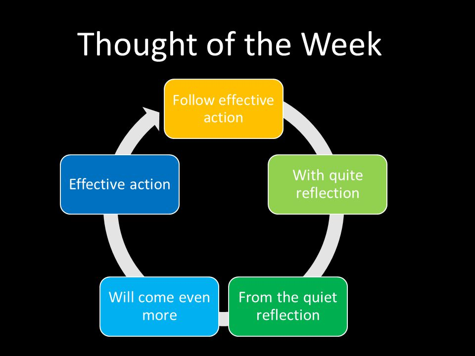 Follow effective action With quite reflection From the quiet reflection Will come even more Effective action Thought of the Week