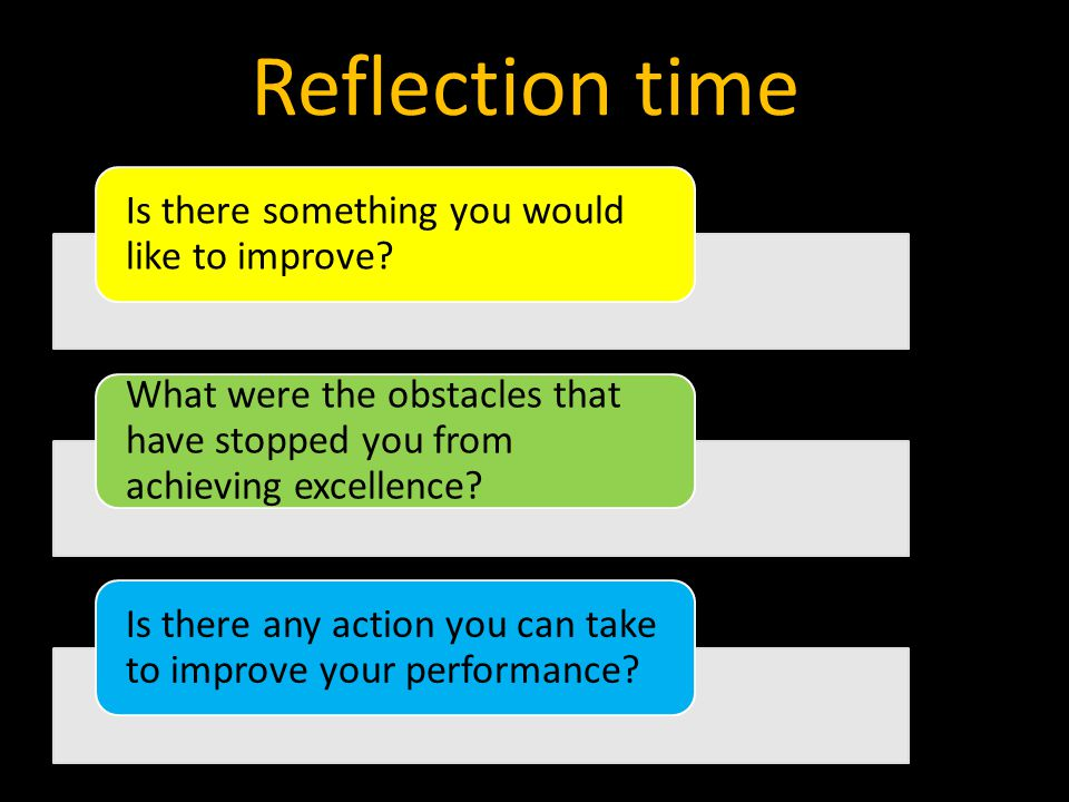 Reflection time Is there something you would like to improve.