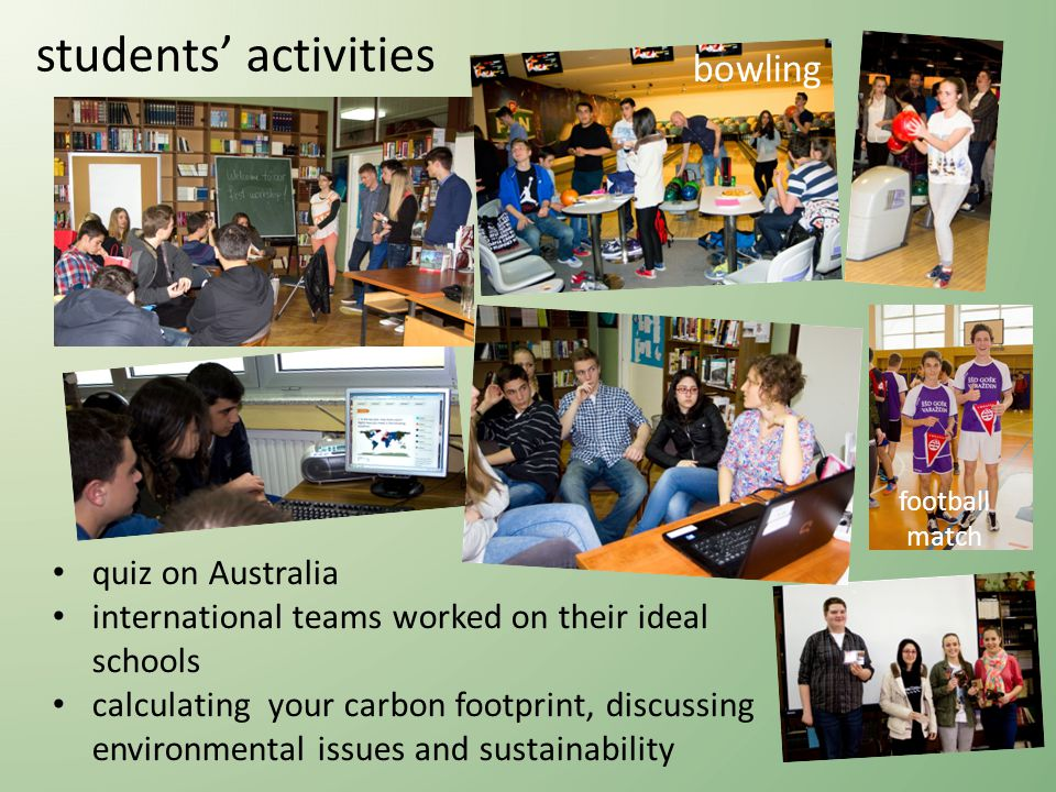 students activities quiz on Australia international teams worked on their ideal schools calculating your carbon footprint, discussing environmental issues and sustainability bowling football match