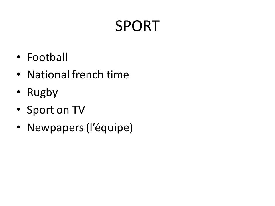 SPORT Football National french time Rugby Sport on TV Newpapers (léquipe)