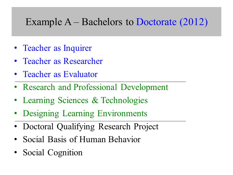 Example A – Bachelors to Doctorate (2012) Teacher as Inquirer Teacher as Researcher Teacher as Evaluator Research and Professional Development Learning Sciences & Technologies Designing Learning Environments Doctoral Qualifying Research Project Social Basis of Human Behavior Social Cognition