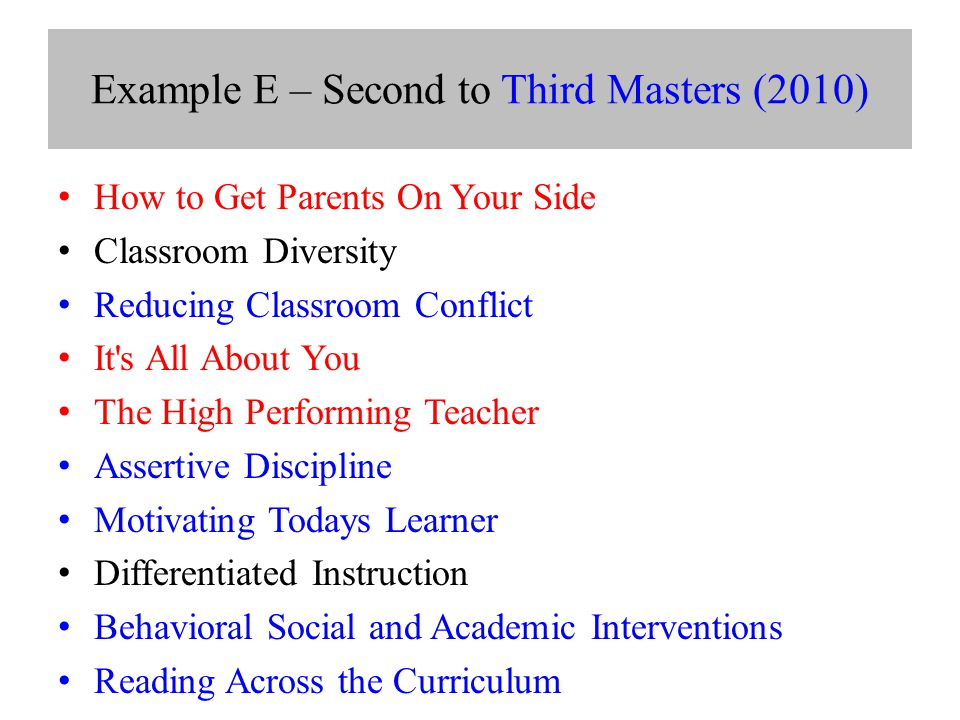 Example E – Second to Third Masters (2010) How to Get Parents On Your Side Classroom Diversity Reducing Classroom Conflict It s All About You The High Performing Teacher Assertive Discipline Motivating Todays Learner Differentiated Instruction Behavioral Social and Academic Interventions Reading Across the Curriculum