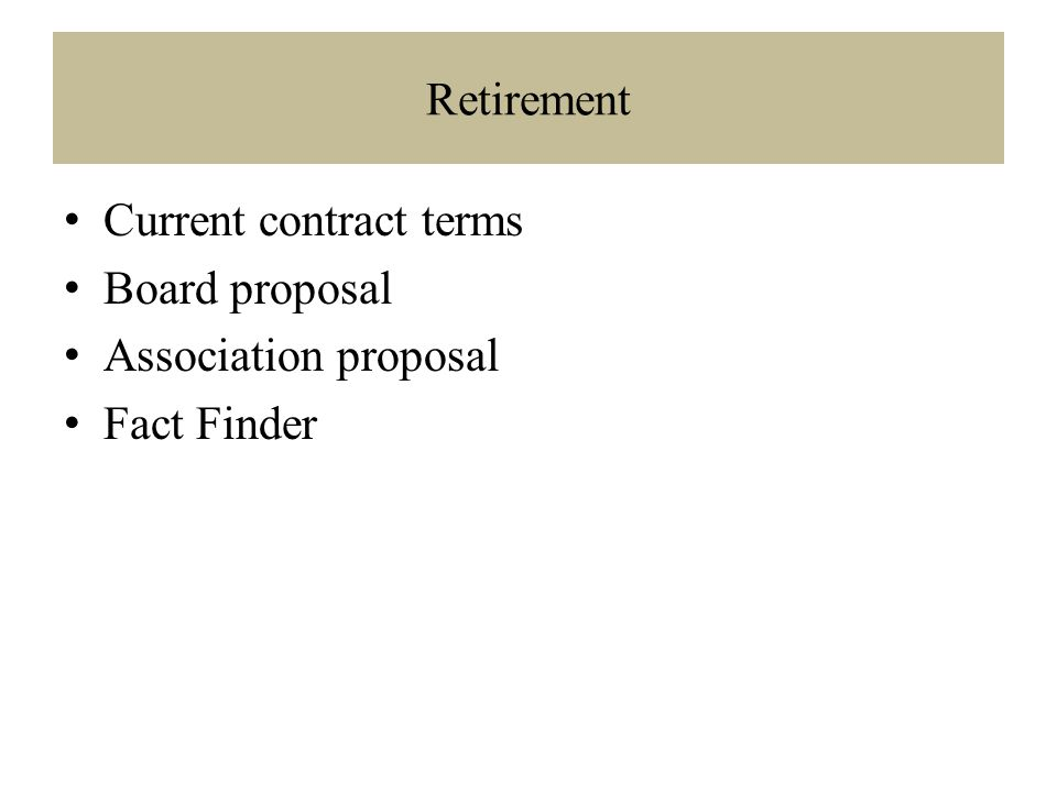 Retirement Current contract terms Board proposal Association proposal Fact Finder