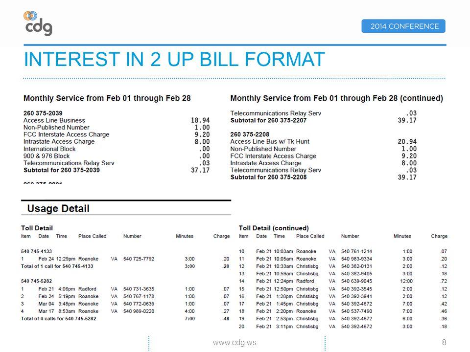 INTEREST IN 2 UP BILL FORMAT 8www.cdg.ws