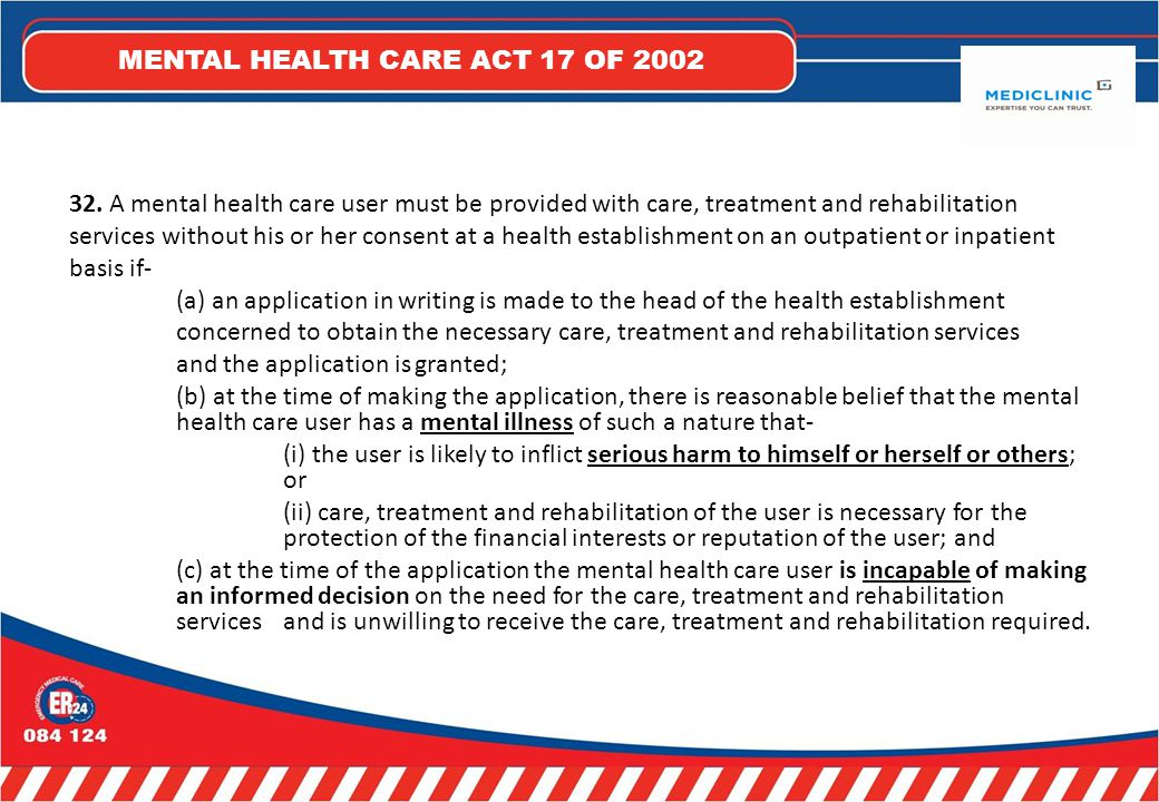 MENTAL HEALTH CARE ACT 17 OF