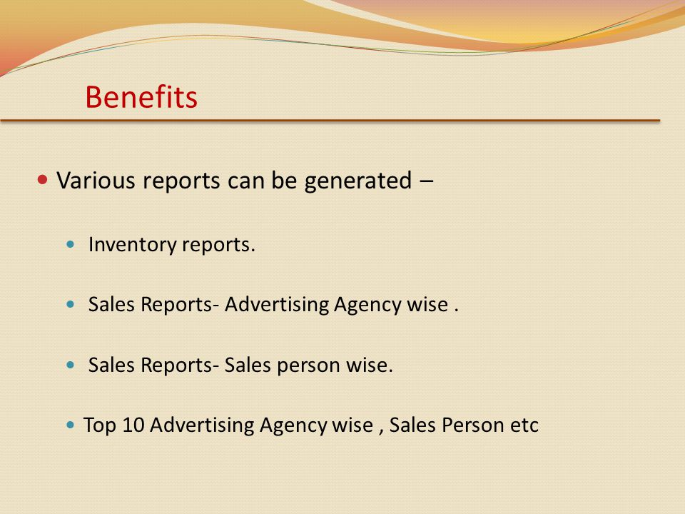 Various reports can be generated – Inventory reports.