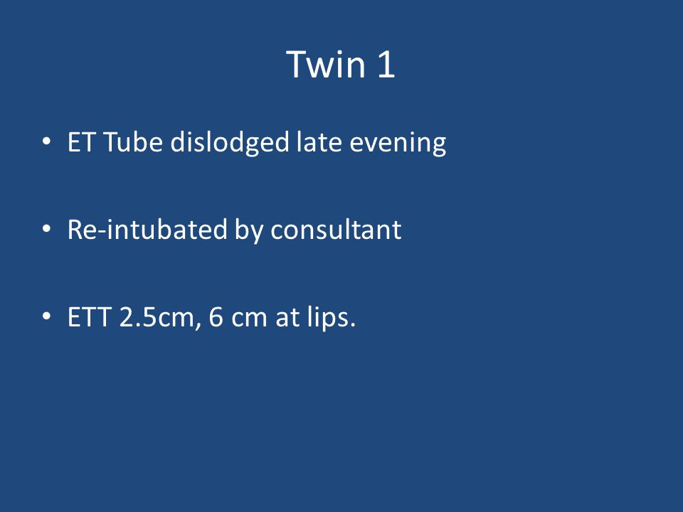Twin 1 ET Tube dislodged late evening Re-intubated by consultant ETT 2.5cm, 6 cm at lips.