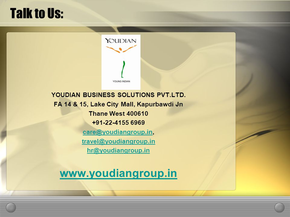Talk to Us: YOUDIAN BUSINESS SOLUTIONS PVT.LTD.